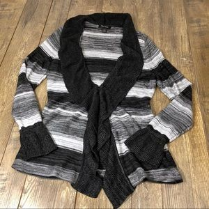WHBM Black & Gray Striped Sweater Size Large